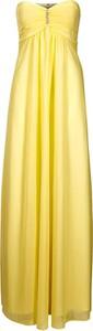 Żółta sukienka Heine z dekoltem w kształcie litery v maxi bez rękawów