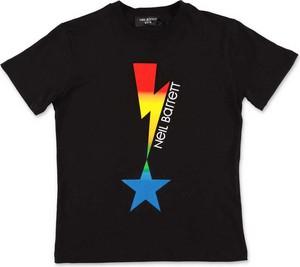 Czarny t-shirt Neil Barrett w młodzieżowym stylu z nadrukiem z krótkim rękawem