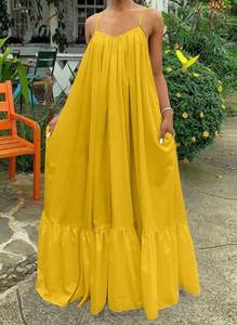 Żółta sukienka Sandbella maxi w stylu boho z dekoltem w kształcie litery v