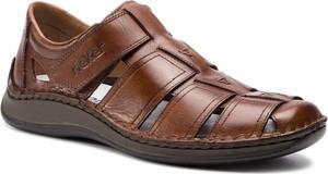 Brązowe buty letnie męskie Rieker ze skóry w stylu casual na rzepy