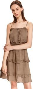 Brązowa sukienka Top Secret na ramiączkach