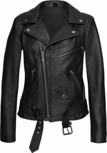 Czarna kurtka V.rooka ze skóry krótka w rockowym stylu