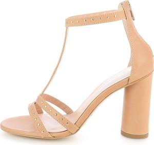 Brązowe sandały Prima Moda na wysokim obcasie na zamek ze skóry