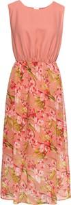 Różowa sukienka bonprix BODYFLIRT maxi z okrągłym dekoltem w stylu casual