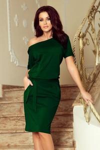 Zielona sukienka NUMOCO z krótkim rękawem z dekoltem w łódkę