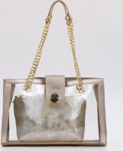 Złota torebka Monnari ze skóry ekologicznej w stylu glamour