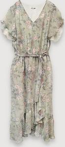 Sukienka Molton w stylu boho z krótkim rękawem asymetryczna