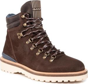 Brązowe buty zimowe Gant sznurowane