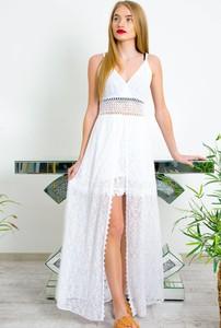 Sukienka Olika maxi z dekoltem w kształcie litery v na ramiączkach