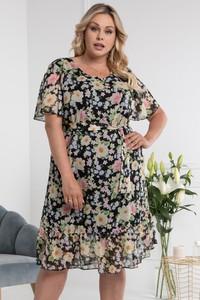 Sukienka KARKO z krótkim rękawem z szyfonu dla puszystych