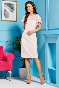 Sukienka Lemoniade z szyfonu midi z krótkim rękawem