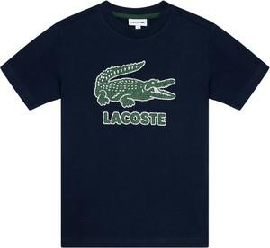Granatowa koszulka dziecięca Lacoste dla chłopców z krótkim rękawem