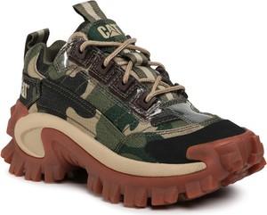 Zielone buty sportowe Caterpillar sznurowane w sportowym stylu