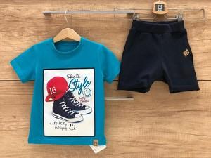Niebieska koszulka dziecięca MIMI z bawełny z krótkim rękawem dla chłopców