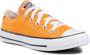 Pomarańczowe trampki Converse sznurowane