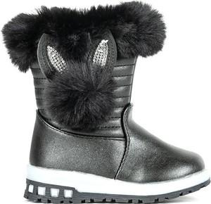 Czarne buty dziecięce zimowe Royalfashion.pl dla dziewczynek na zamek