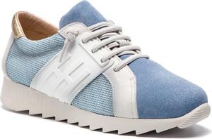 Niebieskie buty sportowe Hispanitas sznurowane z płaską podeszwą z weluru