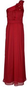 Czerwona sukienka Fokus z przeźroczystą kieszenią asymetryczna maxi