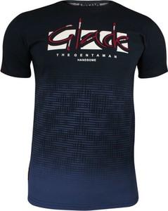 Granatowy t-shirt Adriano Guinari z nadrukiem z krótkim rękawem w młodzieżowym stylu