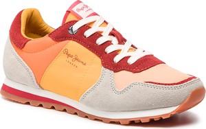 Buty sportowe Pepe Jeans ze skóry na koturnie sznurowane