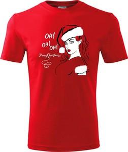 Czerwony t-shirt TopKoszulki.pl z bawełny w młodzieżowym stylu z krótkim rękawem