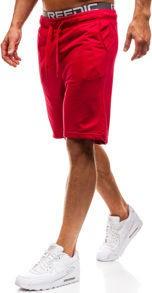 Krótkie spodenki dresowe męskie czerwone denley kk301