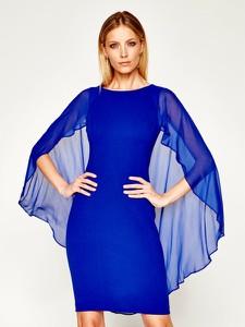 Niebieska sukienka DKNY z długim rękawem z okrągłym dekoltem