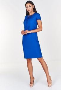 Niebieska sukienka Pawelczyk24.pl z krótkim rękawem