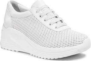 Buty sportowe Badura na platformie sznurowane ze skóry