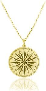 Lian Art Naszyjnik Róża Wiatrów Słońce - 24k złocenie
