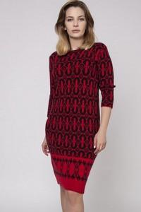 Czerwona sukienka MKM z długim rękawem