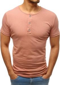Różowy t-shirt Dstreet z krótkim rękawem z bawełny