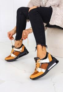 Brązowe buty sportowe Casu ze skóry z płaską podeszwą