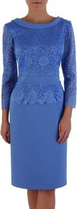 Niebieska sukienka POLSKA z długim rękawem z tkaniny