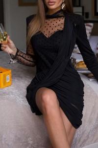 Czarna sukienka IVET mini z długim rękawem