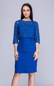 Niebieska sukienka Semper z długim rękawem midi