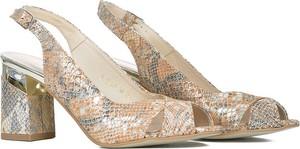 Złote sandały Gamis na obcasie