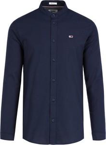 Granatowa koszula Tommy Jeans z długim rękawem z kołnierzykiem
