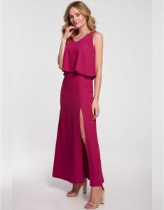 Fioletowa sukienka Makover maxi z tkaniny