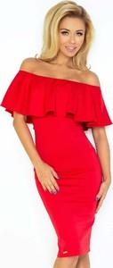 Czerwona sukienka Coco Style z krótkim rękawem midi