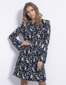 Niebieska sukienka Fobya z długim rękawem mini