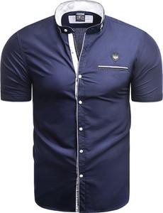 Granatowa koszula Risardi z krótkim rękawem z kołnierzykiem button down