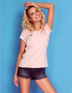 Różowy t-shirt Knitis z krótkim rękawem