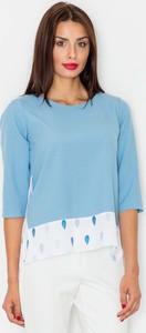 Niebieska bluzka Figl w stylu casual z okrągłym dekoltem