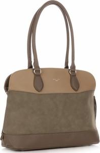 Brązowa torebka David Jones duża w stylu casual ze skóry ekologicznej
