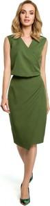 Zielona sukienka MOE midi bez rękawów
