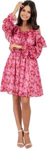 Sukienka Lemoniade z długim rękawem z jedwabiu z dekoltem w kształcie litery v