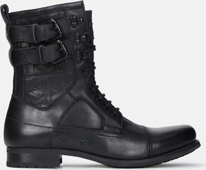 Czarne buty zimowe Kazar sznurowane w stylu casual ze skóry