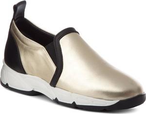 38aa29bb1b0d6 Złote buty sportowe Baldowski z płaską podeszwą ze skóry w stylu casual