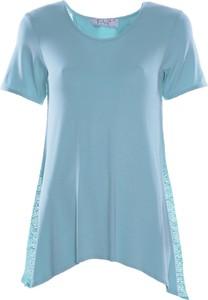 Niebieska tunika Fokus z dzianiny w stylu boho
